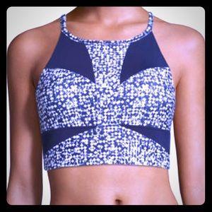 PUMA Culture Surf Crop Top blue & white sports bra